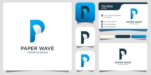 Design moderno semplice lettera p e logo di carta con biglietto da visita. stemma di una cartiera