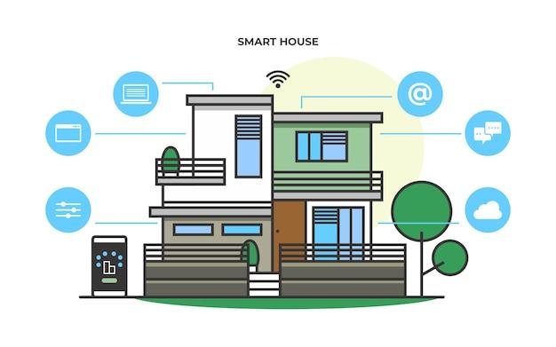 Illustrazione vettoriale infografica moderna casa intelligente sistema tecnologico casa intelligente