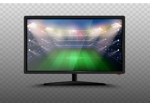 Illustrazione astuta moderna del set televisivo 3d. schermo al plasma lcd con stadio di calcio. partita di coppa del mondo di calcio. notizie sportive in tv.
