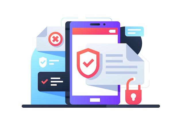 Smartphone moderno utilizzando un'applicazione con programma di protezione dei dati. dispositivo mobile di concetto isolato con app per la sicurezza del sistema.