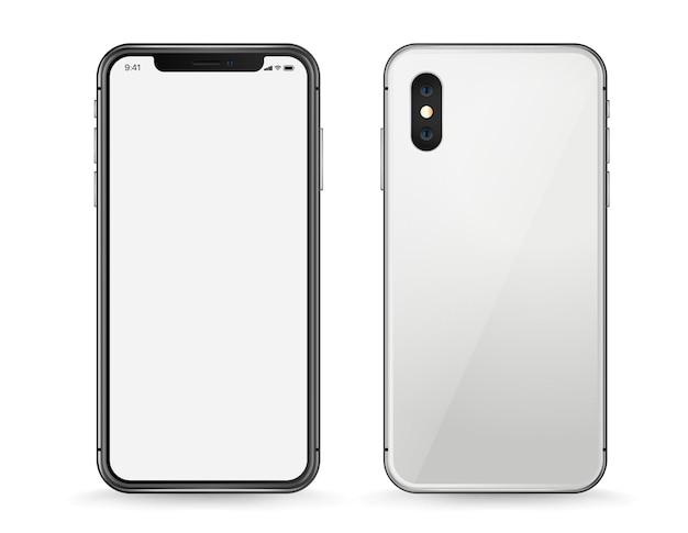 Modello moderno di vettore dello smartphone isolato su bianco. vista anteriore e posteriore
