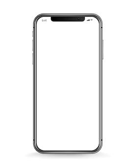 Smartphone moderno con schermo bianco vuoto. illustrazione vettoriale realistica