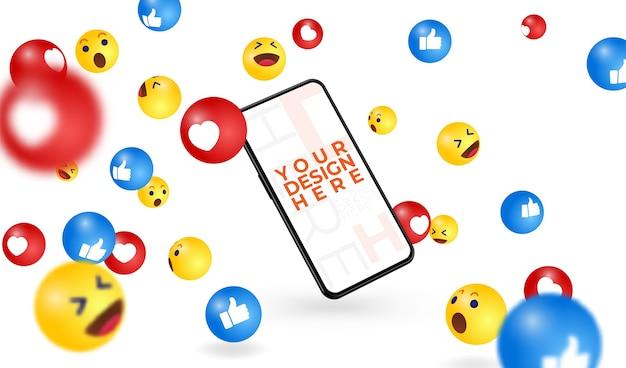 Smartphone moderno scrivi qui il tuo design, cornice libera e illustrazione di emoji sui social media in caduta.