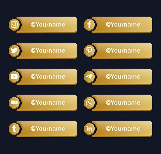 Loghi moderni delle icone dei social media o banner della piattaforma di rete dorata