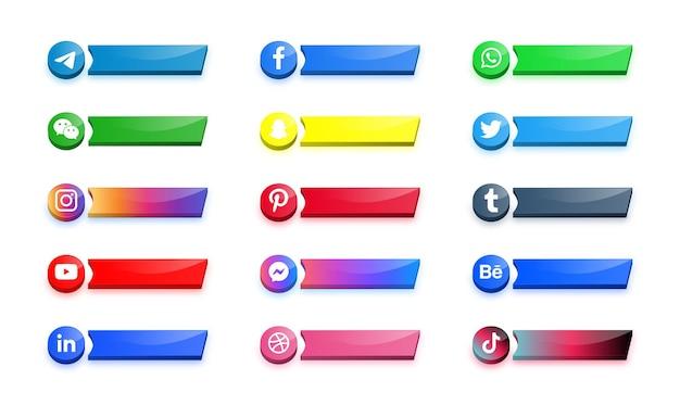 Banner o pulsanti della piattaforma di rete dei logo delle icone dei social media moderni