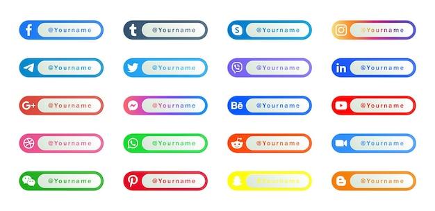 Moderni loghi delle icone dei social media o pulsanti dei banner della piattaforma di rete