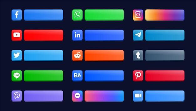 Moderni loghi delle icone dei social media o banner della piattaforma di rete e pulsanti di rete