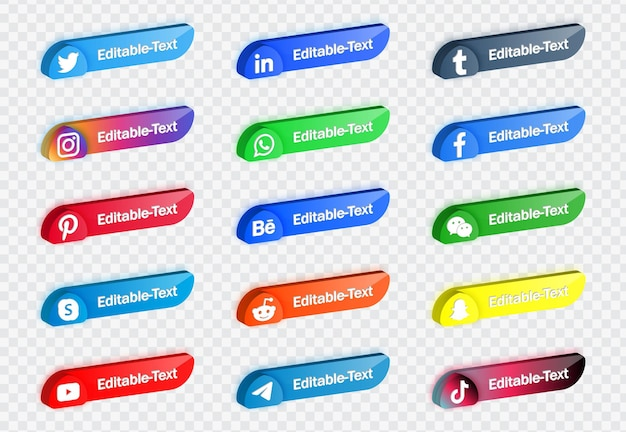 Banner della piattaforma di rete di loghi delle icone dei social media moderni