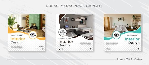 Bundle di banner post di feed di instagram di social media moderni
