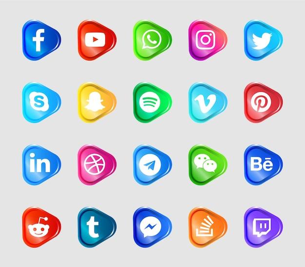 Set di icone e loghi moderni social media