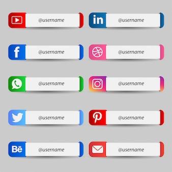 Terza raccolta inferiore di social media moderni