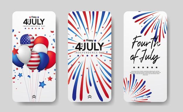 Set di storie sui social media moderne del giorno dell'indipendenza americana, 4 luglio degli stati uniti.