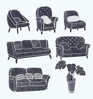 Illustrazione vettoriale di diverse viste del divano moderno del divano