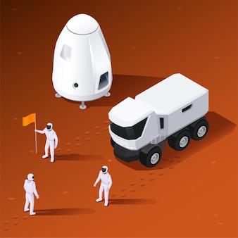 Composizione isometrica nel programma spaziale moderno con vista del rover del modulo di atterraggio del terreno extraterrestre e dell'illustrazione dell'equipaggio degli astronauti