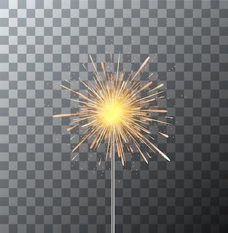 Sparkler moderno su sfondo trasparente.