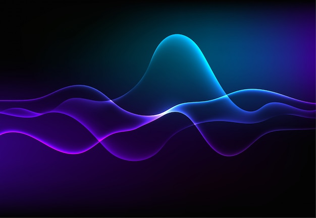 Onde sonore moderne che parlano oscillano la luce blu scuro Vettore Premium