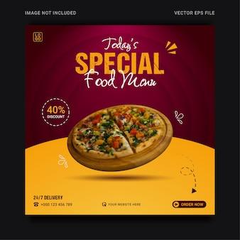 Modello di banner sui social media per la promozione del menu di cibo speciale moderno