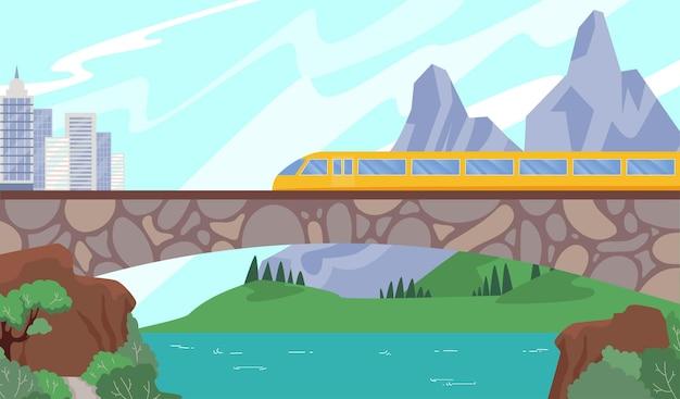 Treno veloce moderno sulla ferrovia