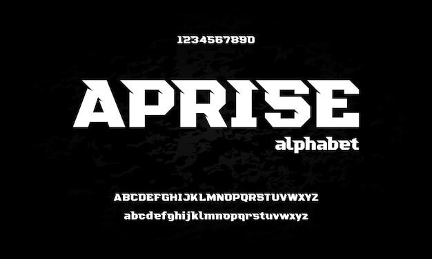 Carattere alfabeto sport moderno. caratteri tipografici in stile urbano per tecnologia, digitale, logo del film