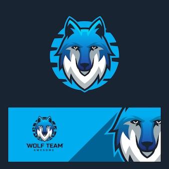 Modello di logo design moderno lupo sportivo