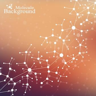 Dna della molecola della struttura moderna. atomo. molecola e background di comunicazione per medicina, scienza, tecnologia, chimica. contesto scientifico medico.