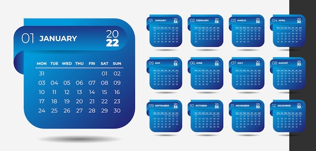 Design del calendario del nuovo anno in stile moderno 2022 in stile nastro