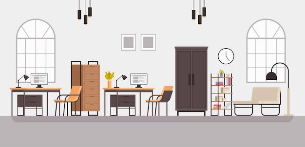 Interiore della mobilia del gabinetto della stanza dell'ufficio di stile moderno.