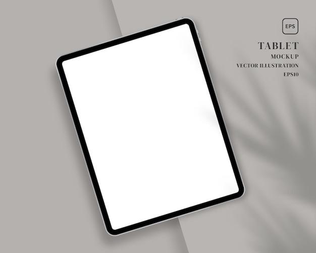Tablet moderno con sovrapposizione di ombre. scena.