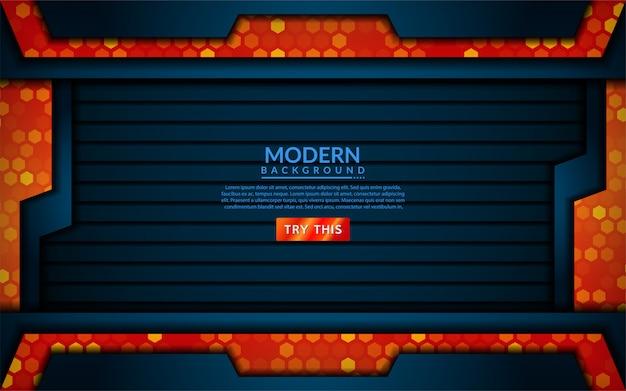 Tecnologia moderna blu si combinano con sfondo arancione
