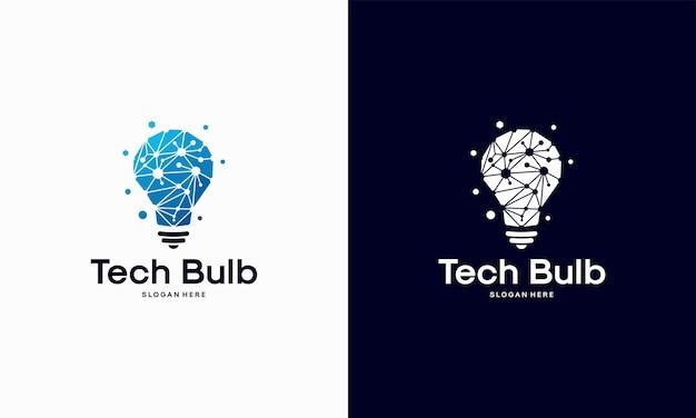 Il logo modern tech bulb progetta il concetto, il logo pixel technology bulb idea