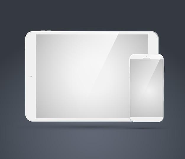 I moderni dispositivi tecnologici impostati con smartphone bianco realistico in bianco e tablet su grigio isolato