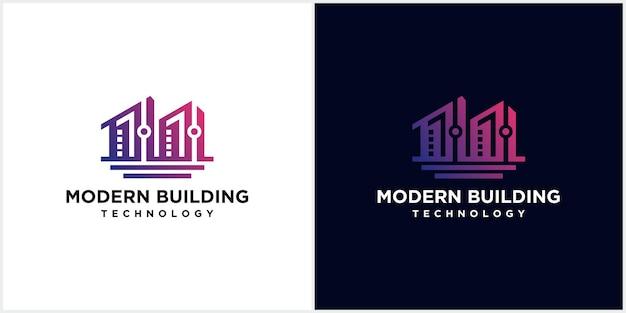 Logo della costruzione di edifici con tecnologia moderna, modello di progettazione del logo del concetto di edificio creativo moderno, unico e pulito
