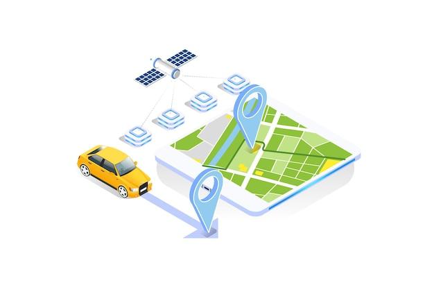 Concetto di app di navigazione gps con tecnologia moderna in illustrazione vettoriale isometrica