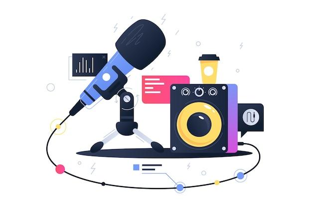 Icona di tecnologia moderna del microfono che si collega con l'altoparlante del subwoofer. dispositivo simbolo di concetto per la registrazione di musica.