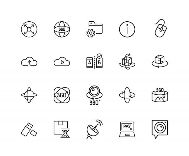 Icone moderne di tecnologia. set di venti icone di linea. servizio cloud, telecamera vr, archiviazione dati.
