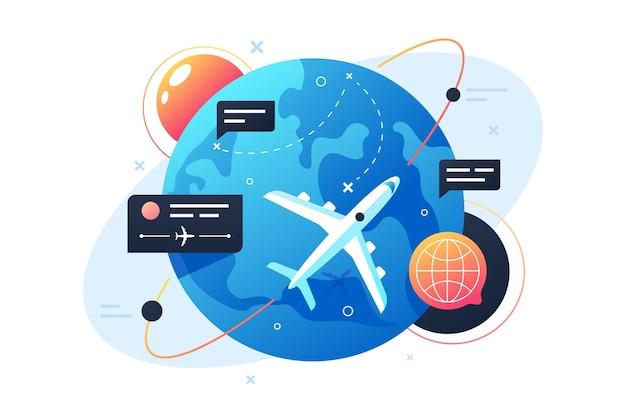 L'aereo di tecnologia moderna vola intorno al pianeta usando i punti e la casella dei messaggi. veicolo volante di concetto isolato con turismo terrestre, viaggio e viaggio.