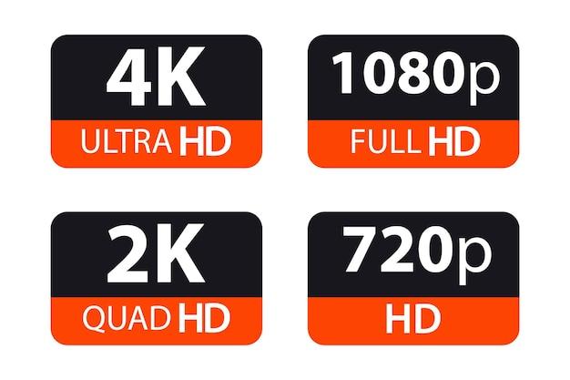 Segni di tecnologia moderna. 4k ultra hd, 2k quad hd, 1080p full hd e 720p hd. simbolo dell'illustrazione vettoriale etichetta del display del monitor