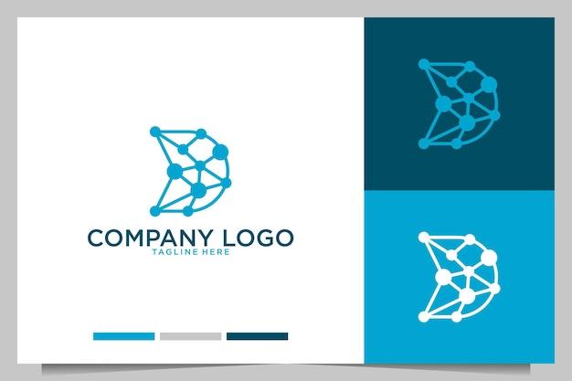 Tecnologia moderna con design del logo della lettera d