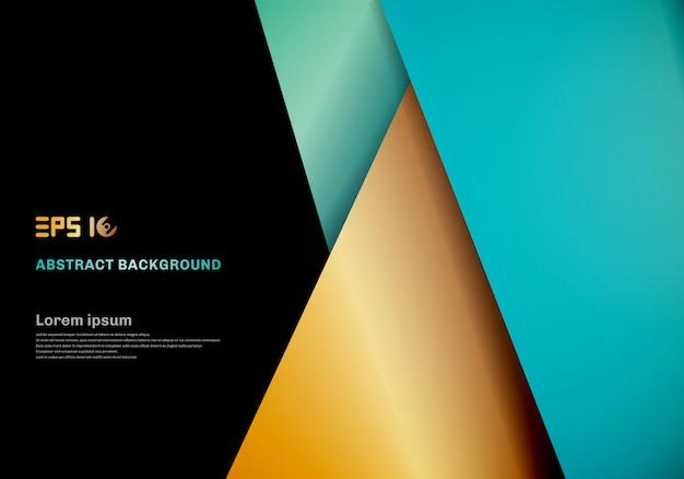 Modello moderno blu, strato di sovrapposizione geometrica di colore oro su spazio nero per la progettazione di sfondo.