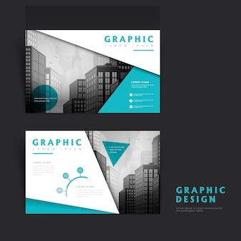 Modello di design moderno con paesaggio urbano ed elementi geometrici