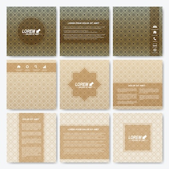Modello moderno brochure quadrata con fondo in stile arabo.