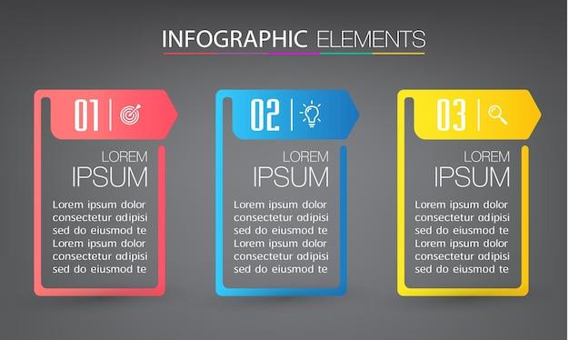 Banner infografica modello moderno casella di testo
