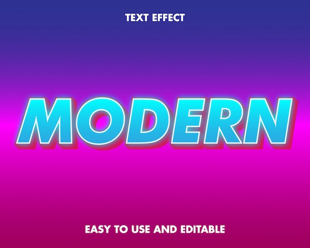 Effetto testo moderno. facile da usare e modificabile. illustrazione vettoriale. vettore premium