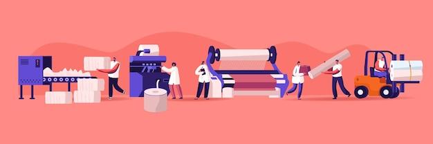 Fabbrica tessile moderna. macchina automatizzata per la produzione di filati. produzione di avvolgitrici per fibre di cotone avvitate su albero grande. spedizione con carrello elevatore. attrezzature per impianti. cartoon piatto illustrazione vettoriale