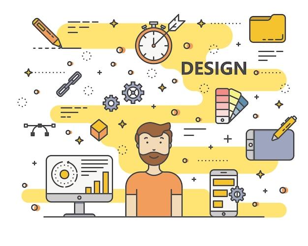 Illustrazione di concetto di design moderno stile piatto sottile linea