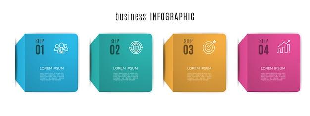 Modello di infografica timeline moderna 4 step