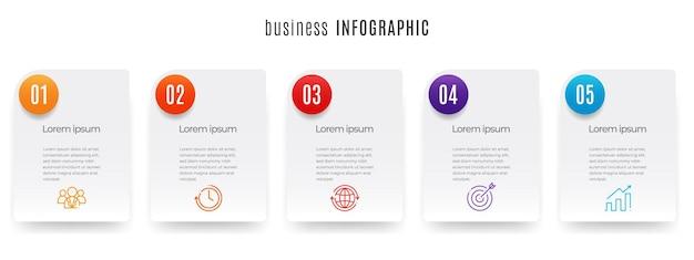 Modello di infografica timeline moderna 5 passaggi