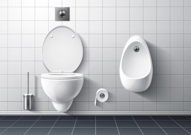 Interiore moderno della stanza della toletta con il pulsante di sciacquone della spazzola del wc della consegna della tazza wc realistico