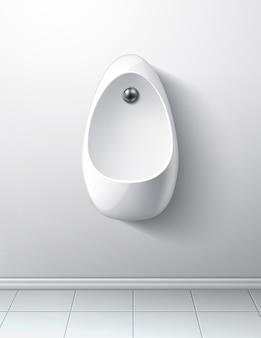 Interiore della stanza bagno moderno con orinatoio e pulsante di scarico