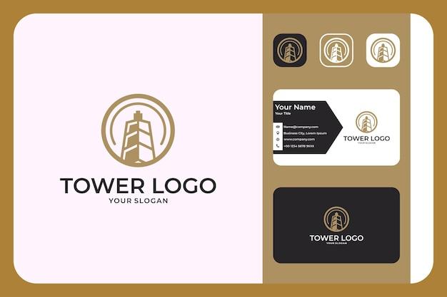 Design moderno del logo della torre e biglietto da visita